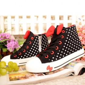 芭芭鸭儿童鞋女鞋中性帆布鞋系带高帮平底时尚韩版大童