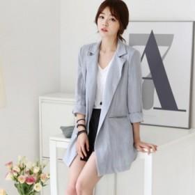 夏梵尼韩国2015新品棉麻修身小西装女装