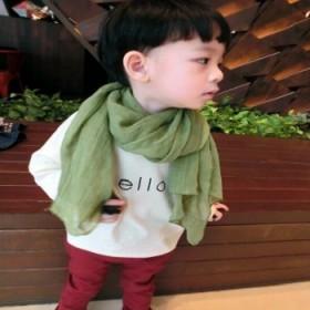 纯色棉麻大尺寸柔亲肤儿童围巾 男女亲子宝宝丝巾