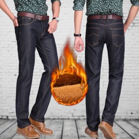 冬季新款男士加绒加厚牛仔裤大码