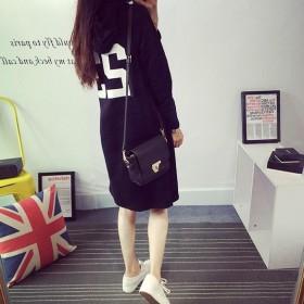 新款韩国宽松字母卫衣中长款连帽休闲卫衣棉女长袖