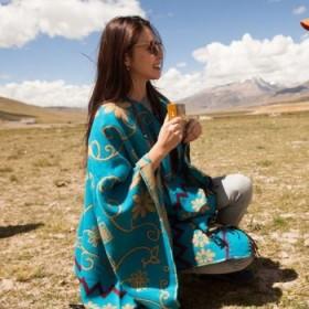 张雨绮西藏同款 民族风披肩外套大仿羊绒围巾