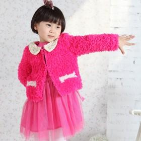 Q.batbaby女童毛绒时尚珍珠领短外套