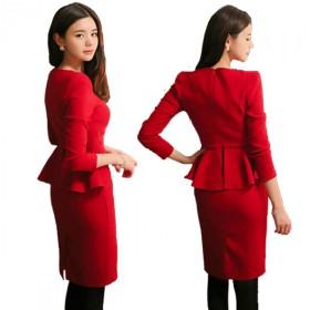 2015新款女装针织长袖厚结婚礼服韩版红色连衣裙