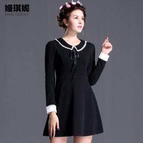 秋冬女装甜美气质a字裙短裙娃娃领显瘦长袖连衣裙