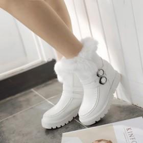 内增高防水雪地靴黑色白色厚底短靴中筒兔毛