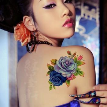 牡丹花花藤纹身贴【2朵大花图案】