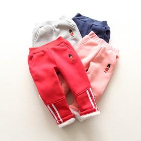 冬装新品儿童女童刺绣卡通装饰休闲加绒加厚长裤棉裤子