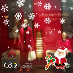 圣诞节布置墙贴画店铺商场玻璃门橱窗贴纸装饰窗花白色
