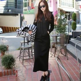 连帽休闲长款卫衣女秋外套加绒冬长袖修身韩国套头显瘦