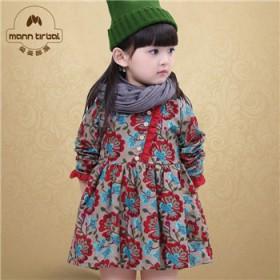 曼曼部落冬裙女童装花朵连衣裙冬款女孩小童荷叶边加绒