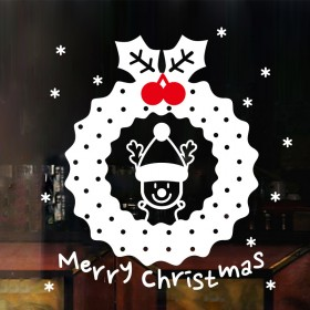圣诞新年店铺橱窗玻璃装饰墙贴纸雪花花环门贴商场促销
