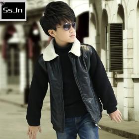 阳光杰尼男童皮衣夹克2015新款加绒加厚棉衣外套