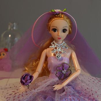 【包邮】 时尚小公主芭比婚纱可爱3d真眼美瞳十二关节芭比娃娃