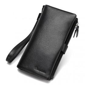 美洲野牛真皮钱包男士长款钥匙卡包头层牛皮竖款手机包