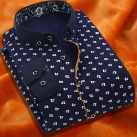 加绒加厚男士保暖衬衫花纹男修身法兰绒加厚长袖保暖