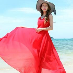 红色连衣裙雪纺V领性感沙滩裙蜜月海边度假长裙显瘦