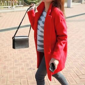 夏梵尼韩国大红色呢子外套女装韩版茧型中长款