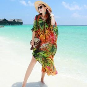 甜蜜沙滩波西米亚连衣裙海边度假沙滩裙印花雪纺长裙