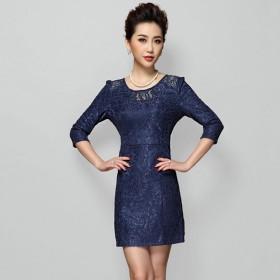 衣纱美姿春夏新款纯色中袖收腰显瘦包臀裙妈妈装