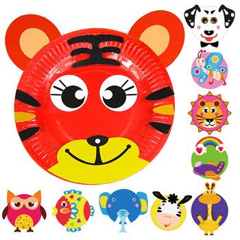 儿童手工制作彩色盘子