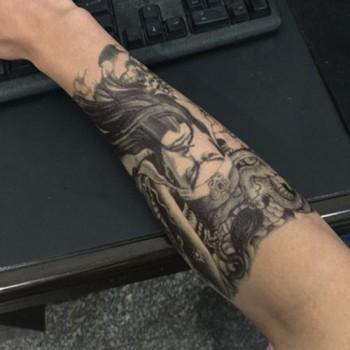 【包邮】 纹身贴原创大图花臂 关公图手臂纹身贴纸