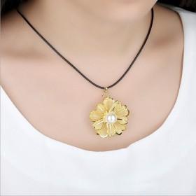 金网花项链吊坠24k金箔镶嵌珍珠金玫瑰花朵毛衣链