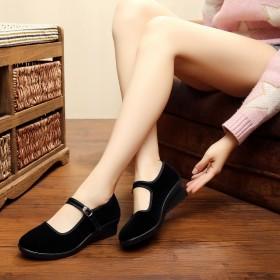品牌老北京布鞋酒店软底防滑平底坡跟高跟妈妈工作鞋