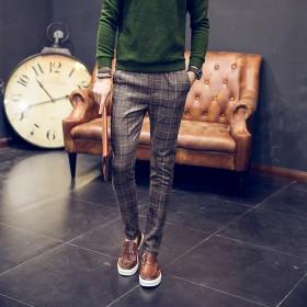 冬季日系修身格子加绒加厚休闲裤男士青年大码长裤宽松