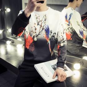 新款中国风卫衣太空棉男士加大码印花长袖体恤圆领打底