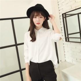 夏梵尼韩国2016春秋新款长袖衬衣雪纺衬衫
