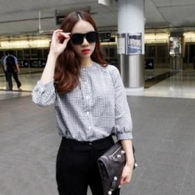 夏梵尼韩国2015纯棉七分袖格子衬衫女秋装韩版潮