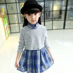 女童长袖连衣裙春秋款韩版格子中大童公主裙