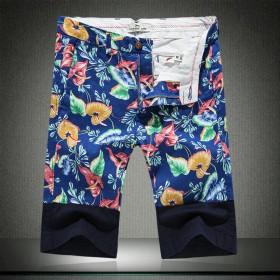夏季韩版修身薄款沙滩裤男士印花五分裤个性时尚青年休