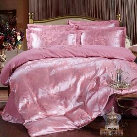 富安娜全棉贡缎提花四件套纯棉绣花婚庆被套床单4件套