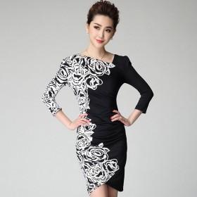 衣纱美姿春装新款不规则玫瑰印花修身显瘦连衣裙