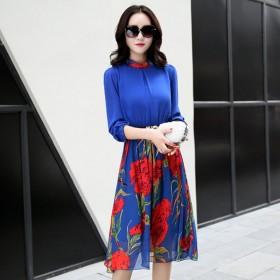 衣纱美姿时尚修身显瘦印花雪纺中长款连衣裙送腰带