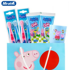 美乐a佩佩猪儿童牙刷软毛4支牙膏2管儿童漱口杯1只