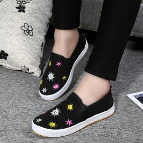 学生帆布鞋低帮韩版平底休闲鞋百搭板鞋一脚蹬懒人鞋
