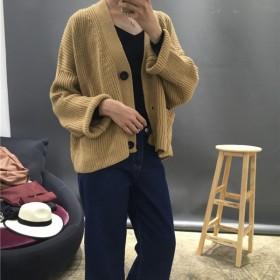 2016春装新款长袖单排扣宽松毛衣短外套针织衫