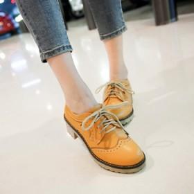 低跟鞋女 单鞋 圆头粗跟牛筋底深口系带低帮鞋女