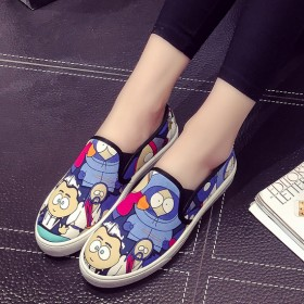 春季韩版女帆布鞋女学生低帮鞋手绘涂鸦休闲板鞋乐福鞋