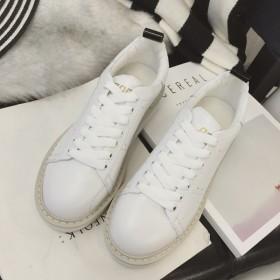 春季时尚真皮圆头小白鞋百搭休闲英伦风白色系带运动平