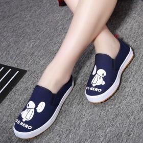 韩版春季女鞋帆布鞋板鞋运动鞋一脚蹬懒人鞋学生休闲鞋