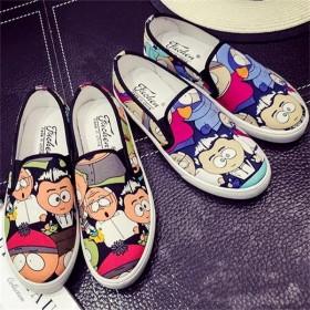 春季韩版女帆布鞋女学生低帮鞋手绘涂鸦休闲厚底乐福鞋