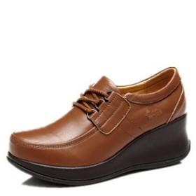 16新款春秋款中年女鞋真皮坡跟皮鞋