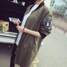 夏梵尼韩国休闲中长款棒球服春秋装女式bf风衣外套