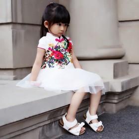女童旗袍连衣裙 儿童唐装民族风公主网纱裙 夏季短袖