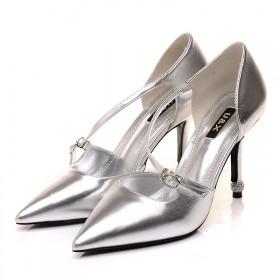 春夏新款女鞋性感尖头增高扣环正装皮鞋低帮鞋小码单鞋