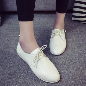 春季系带小白鞋小黑鞋平底女单鞋防滑休闲鞋皮鞋圆头女